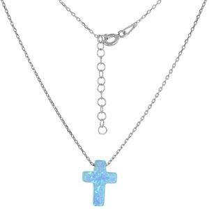 Sterling Silver Cross Necklace Synthetic Opal